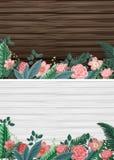 Fondo due con i bordi di legno ed i fiori illustrazione vettoriale