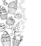 Fondo dulce del postre con las magdalenas y el helado, blancos y negros stock de ilustración
