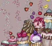 Fondo dulce del postre con las magdalenas y el helado libre illustration