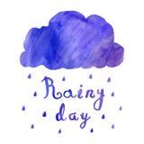 Fondo e carta d'annata blu dell'acquerello con il giorno piovoso del testo scritto a mano e della nuvola Immagine Stock