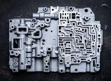 Fondo e modello di vecchie parti di metallo del contenitore di cambio trasmissioni ed ingranaggi del Idro-cervello immagini stock libere da diritti