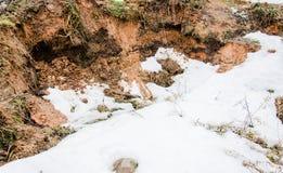 Fondo e neve del suolo Terriccio e neve Glay e neve Brown ha arato il suolo Terriccio bagnato Neve fusa della sporcizia su un cam Fotografia Stock Libera da Diritti