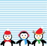 Fondo e pinguini blu Fotografie Stock Libere da Diritti