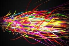 Fondo eccellente di buio di Sonic Rainbow Strands Line Glow Fotografia Stock Libera da Diritti
