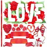 Fondo ed elementi di giorno di S. Valentino per la decorazione Immagine Stock Libera da Diritti