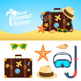 Fondo ed icone di estate Fotografia Stock Libera da Diritti
