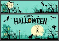 Fondo ed insegna di Halloween Immagini Stock Libere da Diritti