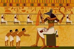 Fondo egipcio antiguo del papiro y del jeroglífico libre illustration