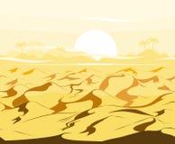 Fondo egiziano del paesaggio di vettore delle dune del deserto Sabbia nell'illustrazione della natura Fotografie Stock Libere da Diritti
