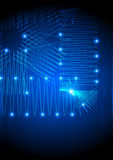 Fondo electrónico abstracto azul Fotografía de archivo