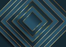 Fondo elegante astratto con progettazione quadrata in blu ed oro illustrazione vettoriale