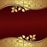 Fondo elegante con i confini dorati floreali. Fotografie Stock Libere da Diritti