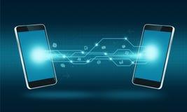 Fondo elegante de la conexión de la transferencia de Internet de la tecnología del teléfono Imagen de archivo libre de regalías