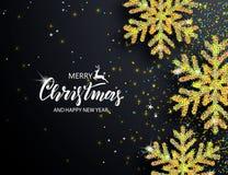 Fondo elegante de la Navidad con los copos de nieve brillantes Ilustración del vector stock de ilustración