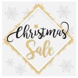 Fondo elegante de la venta de la Navidad con las estrellas que brillan fondo del oro brillante, en vector Foto de archivo