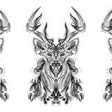 Tarjeta blanco y negro con los ciervos estilizados Imagen de archivo
