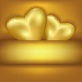 Fondo elegante de oro con los corazones Fotos de archivo