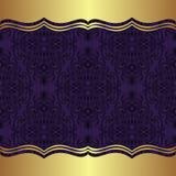 Fondo elegante del damasco con las fronteras de oro Fotos de archivo libres de regalías
