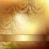 Fondo elegante del fiore dell'oro con un modello del pizzo Immagini Stock Libere da Diritti