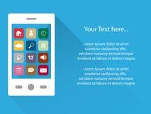 Fondo elegante del teléfono con los iconos en pantalla táctil, diseño plano, espacio del app de la copia Imagen de archivo libre de regalías