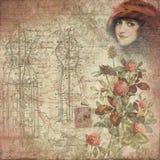 Fondo elegante misero antico del collage - illustrazione della forma del vestito - trifoglio - afflitto illustrazione vettoriale