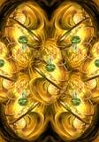 Fondo enérgico de las ilustraciones de los fractales del extracto liso generado por ordenador único artístico de oro ilustración del vector