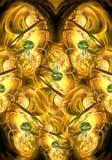 Fondo enérgico de oro de las ilustraciones de los fractales del extracto generado por ordenador único artístico ilustración del vector
