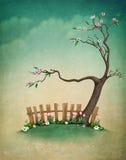 Fondo en colores pastel con el árbol y la cerca