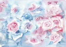 Fondo en colores pastel floral de la acuarela Foto de archivo