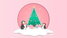 Fondo en colores pastel lindo de la Navidad del pingüino y del árbol de navidad y imagen de archivo