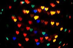 Fondo en forma de corazón de las luces fotos de archivo