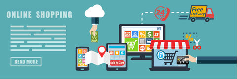 Fondo en línea de la bandera del concepto del comercio electrónico de las compras