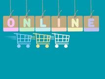 Fondo en línea de las compras Imágenes de archivo libres de regalías