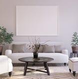 Fondo en la sala de estar interior, estilo escandinavo del cartel de la maqueta foto de archivo libre de regalías