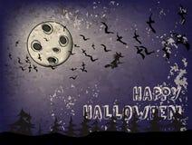 Fondo en un tema Halloween del día de fiesta con el cielo oscuro, bruja Foto de archivo libre de regalías