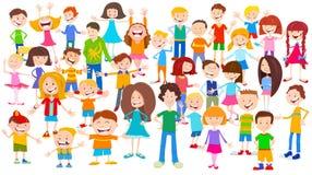 Fondo enorme del grupo de los niños de la historieta stock de ilustración