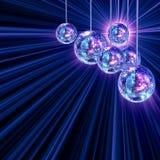 Fondo enrrollado colorido con las bolas de discoteca del espejo Imagen de archivo