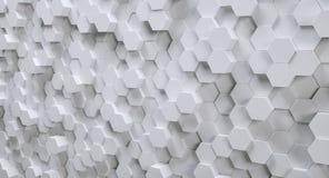 Fondo esagonale bianco futuristico, 3D fotorealistico fotografia stock