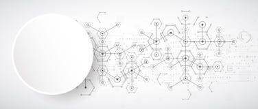 Fondo esagonale di tecnologia luminosa bianca astratta Connectio illustrazione di stock