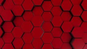Fondo esagonale rosso di moto 3d rendono dei primitivi semplici con sei angoli nella parte anteriore royalty illustrazione gratis