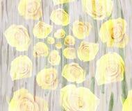Fondo escénico con las rosas amarillas, espiral de la flor de la acuarela stock de ilustración