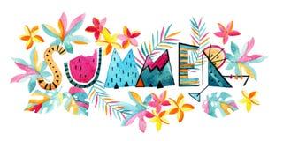 Fondo esotico di estate dell'acquerello royalty illustrazione gratis