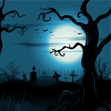 Fondo espeluznante de Halloween del árbol con la Luna Llena Imágenes de archivo libres de regalías