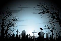 Fondo espeluznante de Halloween del cementerio con el árbol y piedra sepulcral detrás encendida ilustración del vector