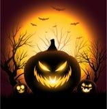 Fondo espeluznante del copyspace de la cara de la calabaza de Halloween Fotos de archivo