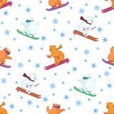 Fondo, esquí de los osos de peluche Foto de archivo