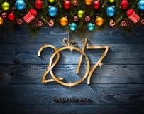 Fondo estacional de la Feliz Año Nuevo 2017 con las chucherías de la Navidad Imágenes de archivo libres de regalías