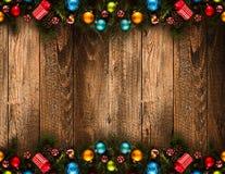 Fondo estacional de la Feliz Año Nuevo 2017 con las chucherías de la Navidad Foto de archivo