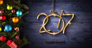 Fondo estacional de la Feliz Año Nuevo 2017 con las chucherías de la Navidad Imagen de archivo