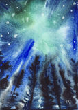 Fondo estrellado azul y verde abstracto del cielo Foto de archivo